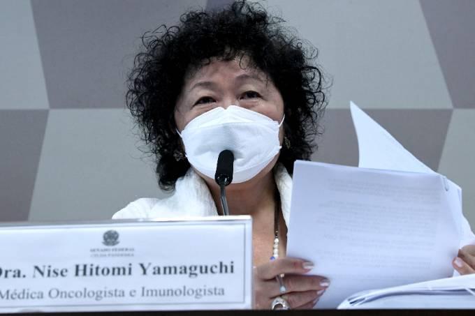 A médica Nise Yamaguchi durante depoimento à CPI da Pandemia – 01/06/2021 –