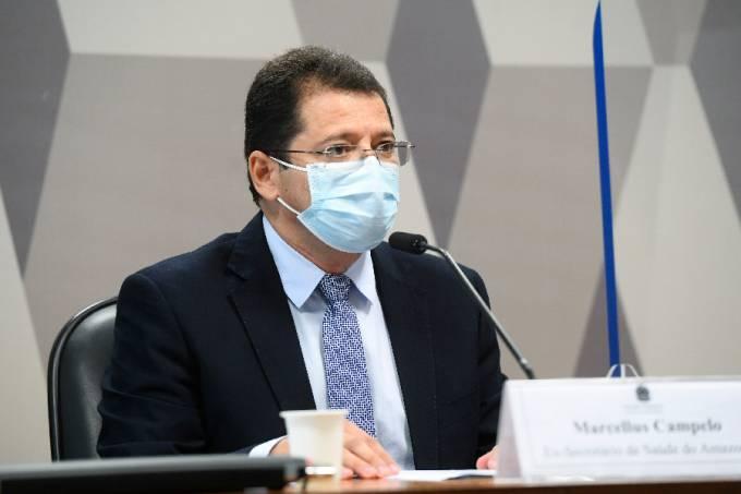 O ex-secretário de Saúde do Amazonas Marcellus Campêlo durante depoimento à CPI da Pandemia – 15/06/2021 –