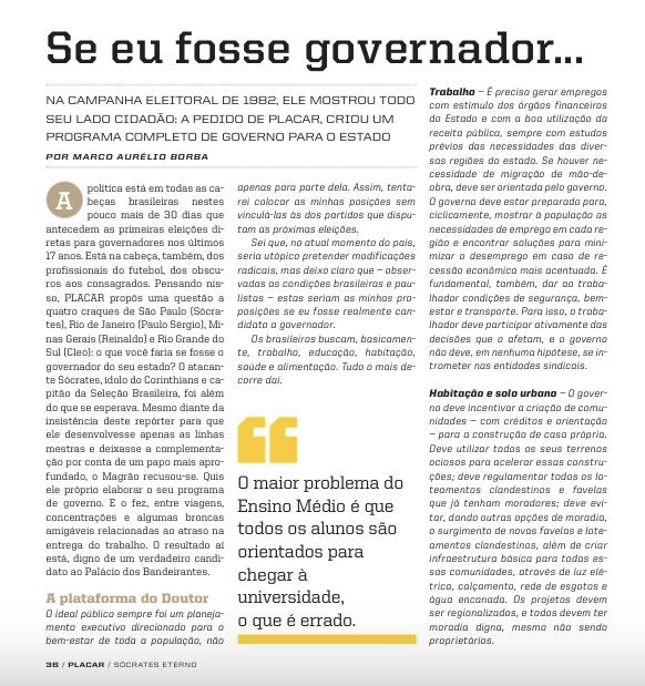 Revista PLACAR especial Sócrates