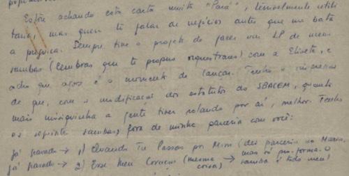 Trecho de carta de Tom Jobim a Vinicius de Moraes