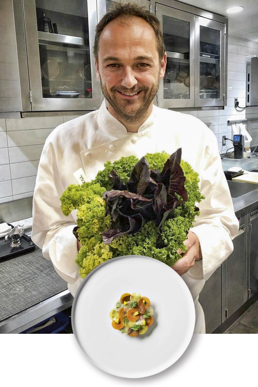 REVIRAVOLTA - Humm, chef do Eleven, três-estrelas de Nova York: agora, só pratos plant-based, como a receita ao lado, à base de cenoura em variadas cores e texturas, urtiga cremosa, flor de mostarda e tomilho -