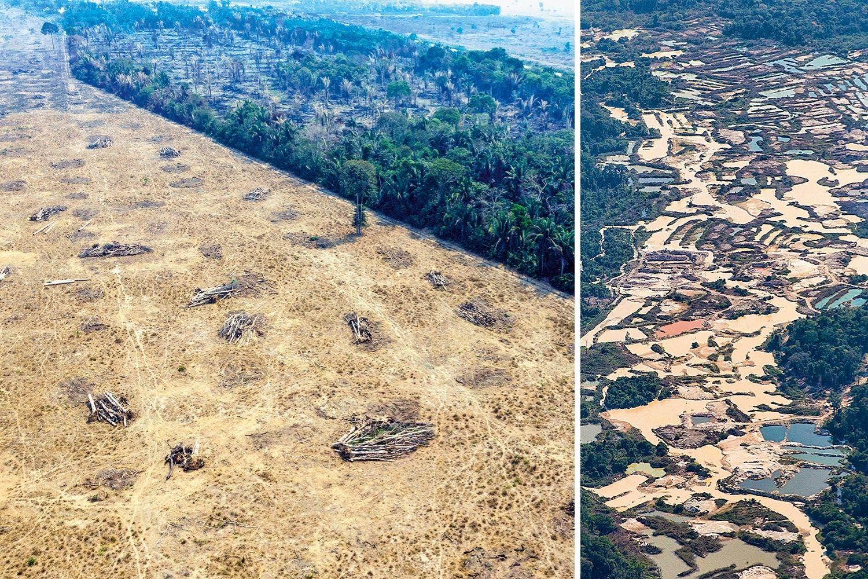 DESTRUIÇÃO -Área desmatada (ao lado) e visão aérea de garimpo ilegal no coração da Amazônia: o afrouxamento da fiscalização multiplicou os danos -