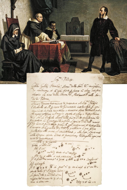 MENTE INQUIETA -A cena do célebre julgamento e manuscrito com observações sobre planetas (acima): interesses que iam da literatura à astronomia, passando pela música -
