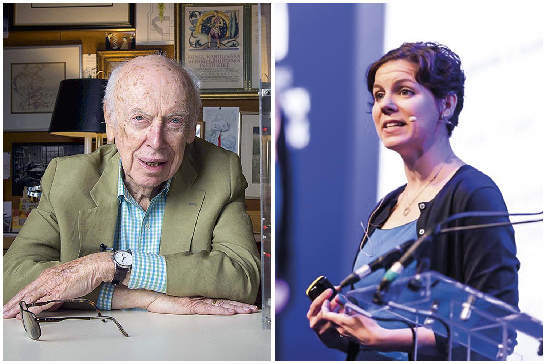 CONQUISTA -James Watson, coautor do modelo da molécula de DNA, e a geneticista Karen Miga: inovadores -