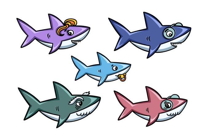 Cartoon style cute sharks family set. Vector illustration.