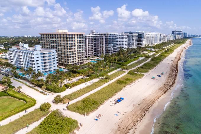 Florida, Miami, Surfside oceanfront condos and beach