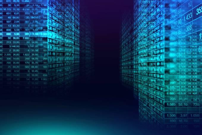 Digital binary code matrix background in graphic concept