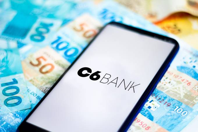 In this photo illustration the C6 Bank logo seen displayed
