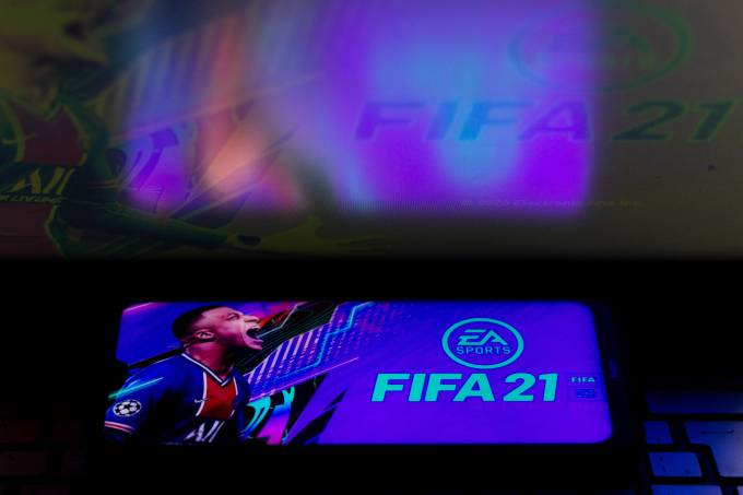 In this photo illustration the FIFA 21 logo is seen