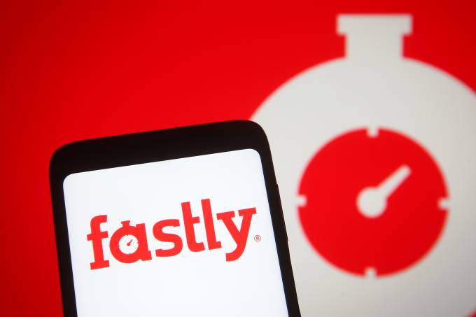 In this photo illustration, Fastly logo of the US cloud