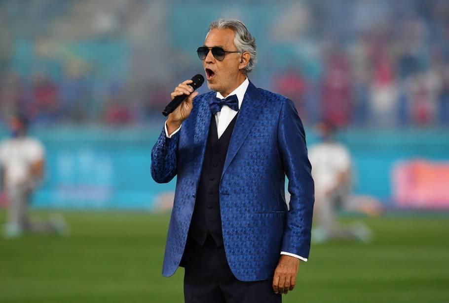 Andrea Bocelli cantou 'Nessun dorma' na abertura da Eurocopa, em Roma