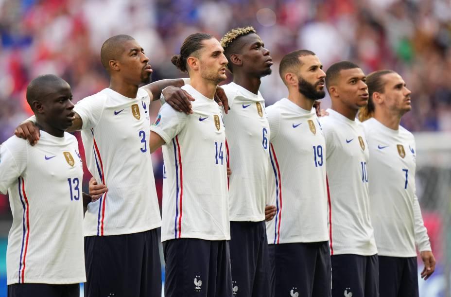 Jogadores da França na partida contra Portugal