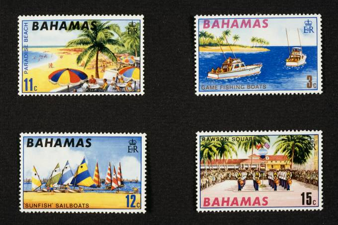 Postage stamps honoring American tourism