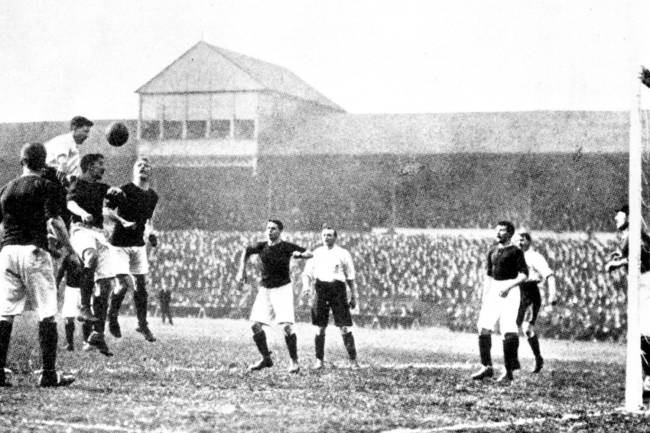 England play Scotland at football, at Bramall Lane, Sheffield, in 1903. Vivian Woodward for