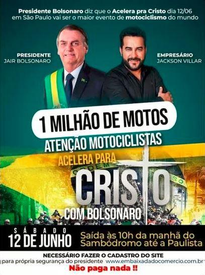 O empresário Jackson Villar e o presidente Jair Bolsonaro em cartaz de divulgação de passeio de moto em sP