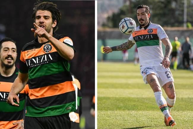 Uniformes do Venezia FC, em tons predominantes de preto ou branco, com listras laranjas e verde s -