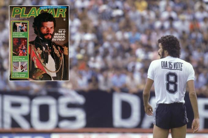 """Sócrates,  jogador do Corinthians, usando camisa com os dizeres """"Dia 15 vote""""."""