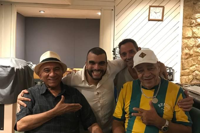 Zé Katimba e Inácio Rios em estúdio com o produtor Bira Haway