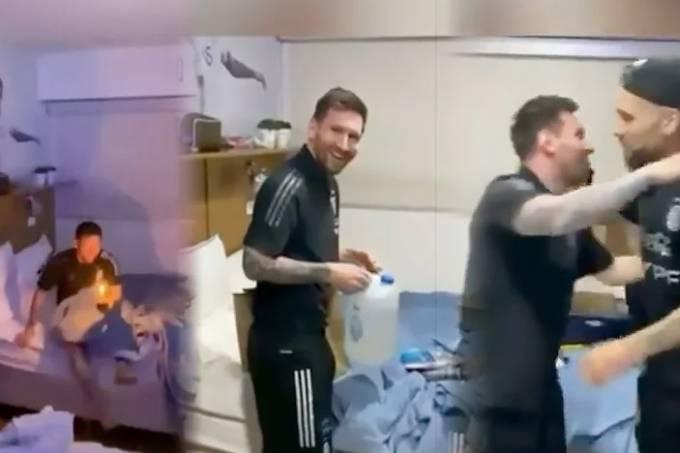 Messi foi surpreendido e parabenizado por colegas da seleção argentina