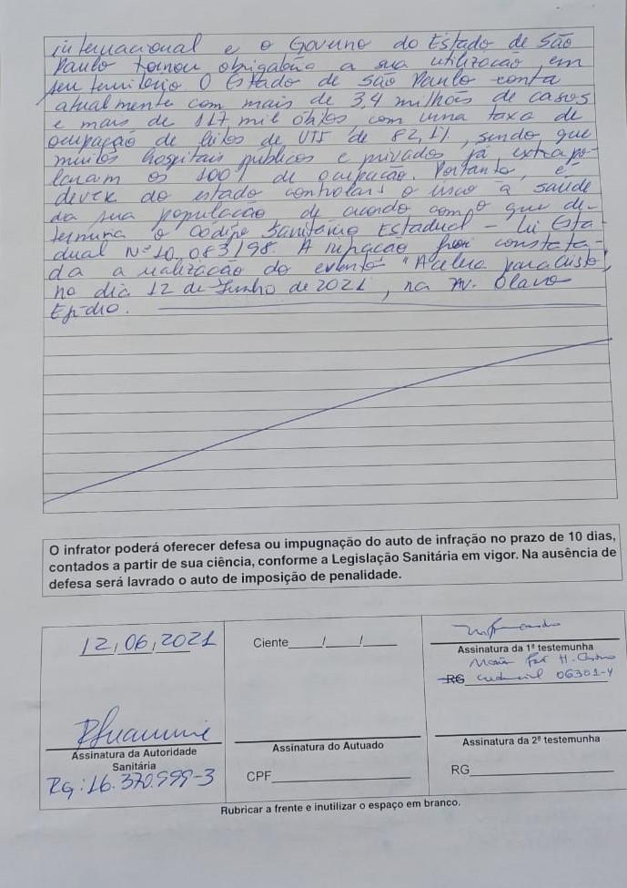 Multa ao presidente Jair Bolsonaro por infringir as normas de uso obrigatório de máscara em São Paulo