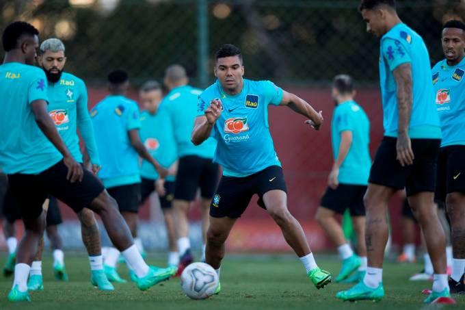 Entrenamiento del seleccionado brasileño en Sao Paulo