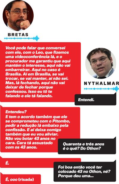 Arte diálogo entre Nythalmar e Bretas