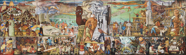 Painéis de 1 a 5 do afresco 'Pan America Unity', de Diego Rivera