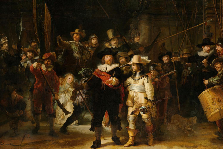 'A Ronda Noturna', do holandês Rembrandt Harmenszoon van Rijn, pintada no século XVIII