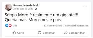 Postagem da médica Rosana Leite de Melo após a demissão de Sergio Moro do Ministério da Justiça