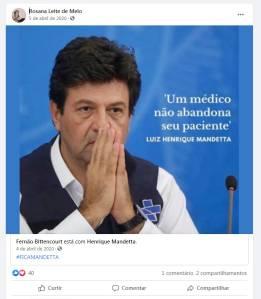 Postagem da médica Rosana Leite, em 5 de abril de 2020, sobre o então ministro da Saúde, Luiz Henrique Mandetta