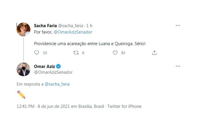 Resposta do senador Omar Aziz, presidente da CPI da Pandemia, a uma seguidora no Twitter