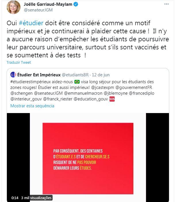 Senadora francesa Joëlle Garriaud-Maylam apoiou movimento de estudantes brasileiros no Twitter