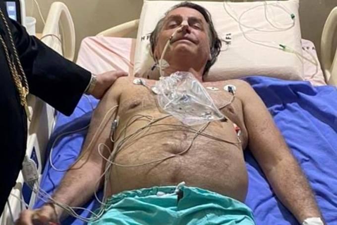Jair Bolsonaro em leito do Hospital das Forças Armadas, em Brasília