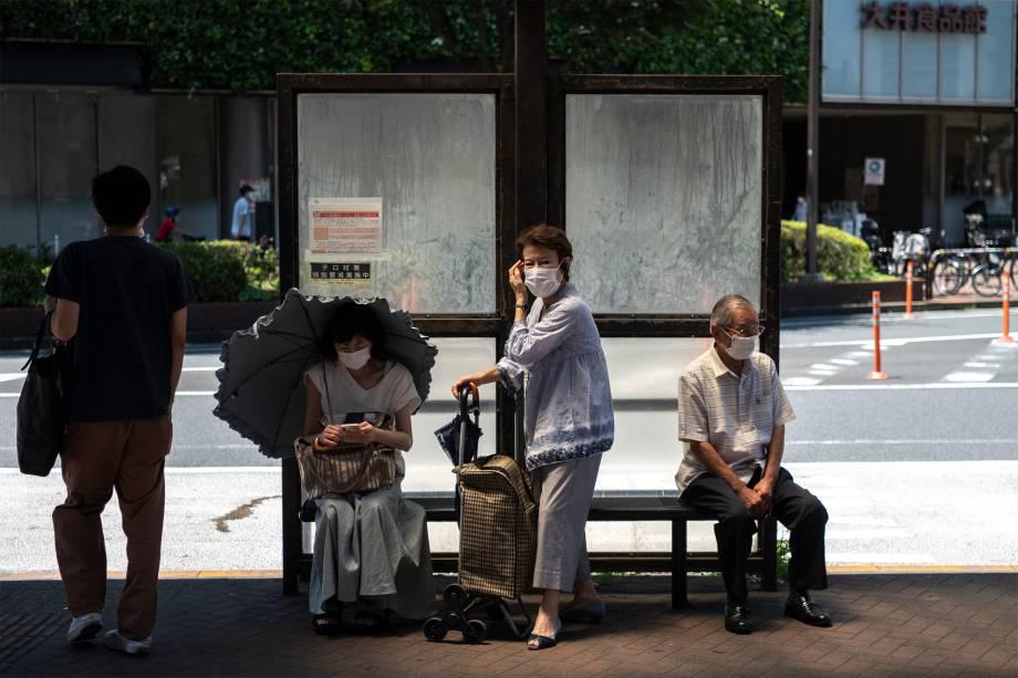 Ponto de ônibus na área de Oimachi, em Tóquio -