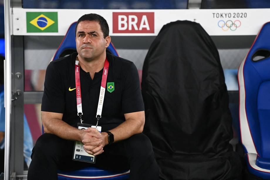 O técnico brasileiro Andre Jardine durante estreia da seleção contra a Alemanha -