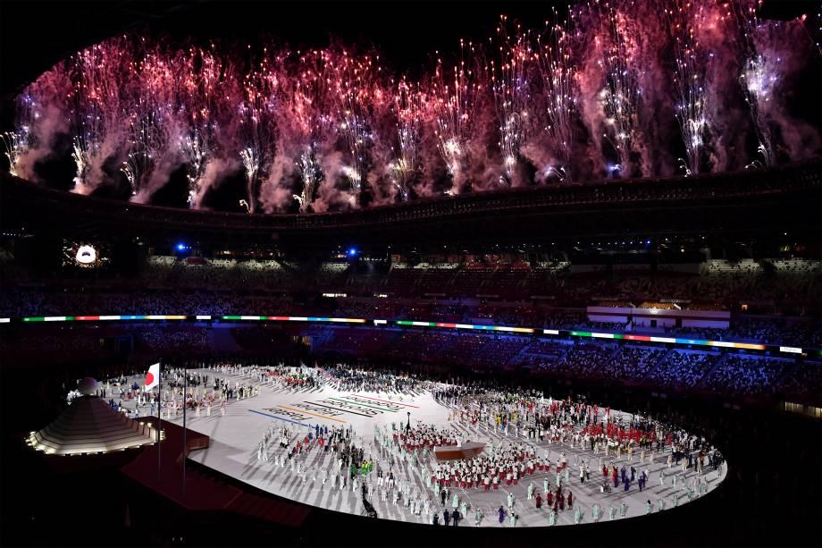 Cerimônia de abertura das Olimpíadas 2020, no Estádio Olímpico de Tóquio -