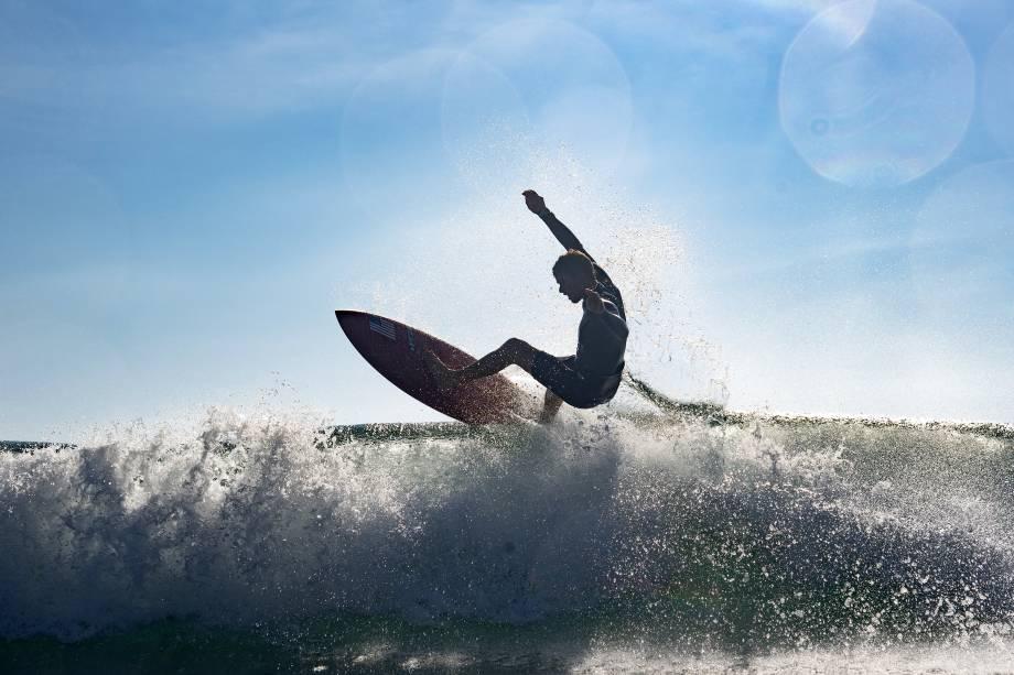 John Florence, dos Estados Unidos, durante sua performance, em Tsurigasaki Surfing Beach -