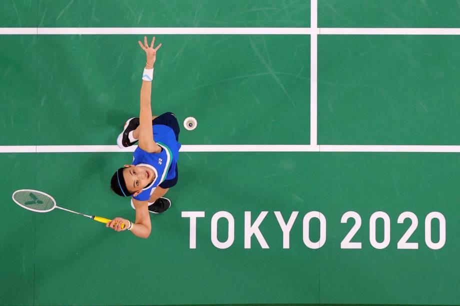 Tai Tzu-ying, de Taiwan, durante partida contra Sabrina Jaquet no badminton -