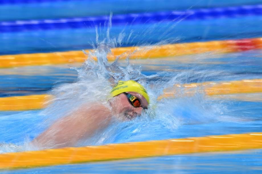 Elijah Winnington, da Austrália, na competição dos 400m livres -