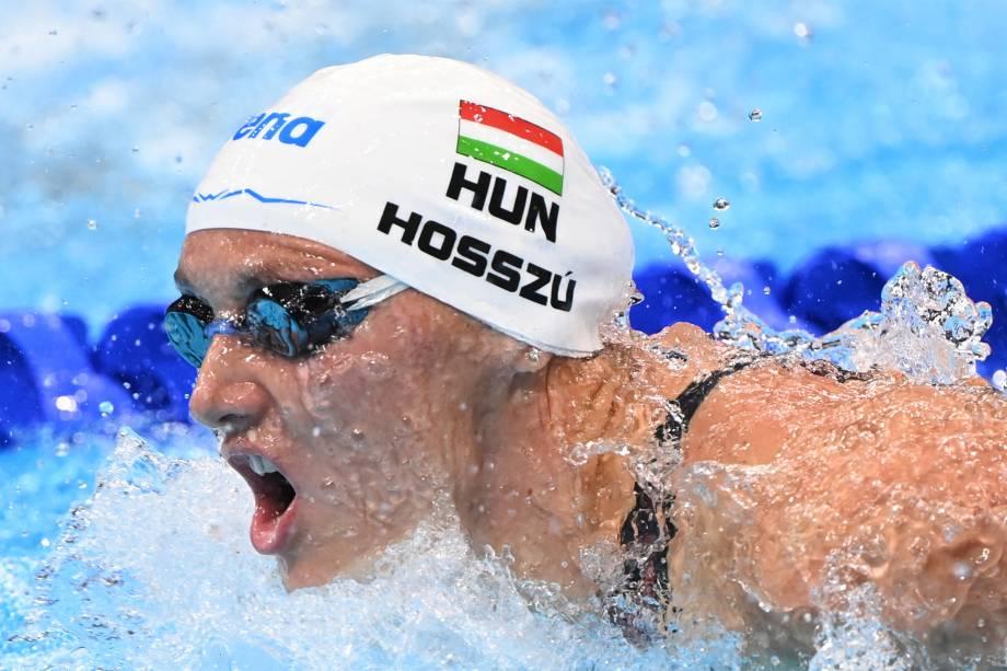 Katinka Hosszu, da Hungria, em prova dos 400m medley feminino -