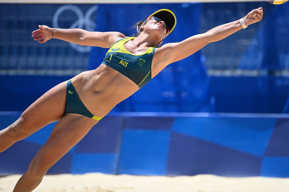 Mariafe Artacho del Solar, da Austrália, durante partida pelo vôlei de praia feminino -
