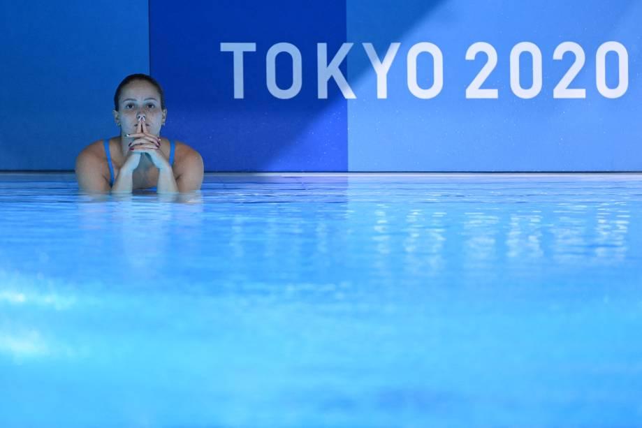 A italiana Chiara Pellacani após um salto na prova de mergulho com trampolim sincronizado -