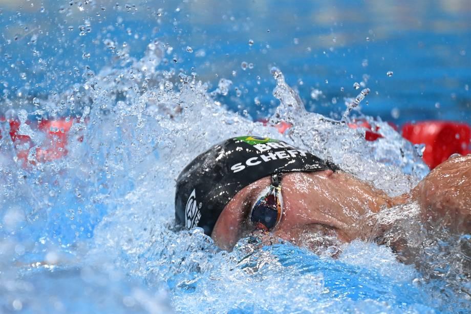 O brasileiro Fernando Scheffer na prova dos 200m livres -
