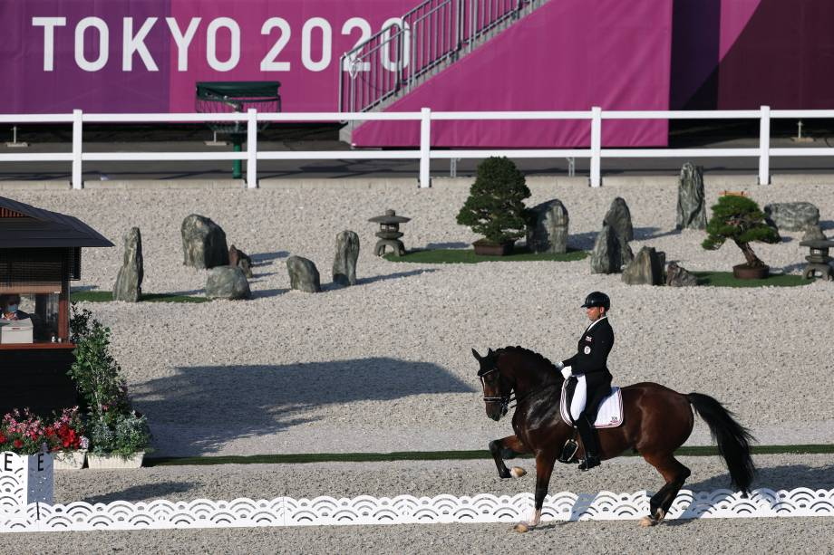 O austríaco Christian Schumach durante prova de adestramento, no Parque Equestre -