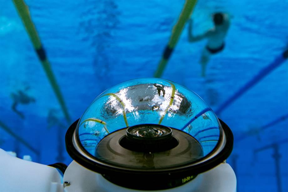 Câmera subáquatica utilizada nas provas de natação -