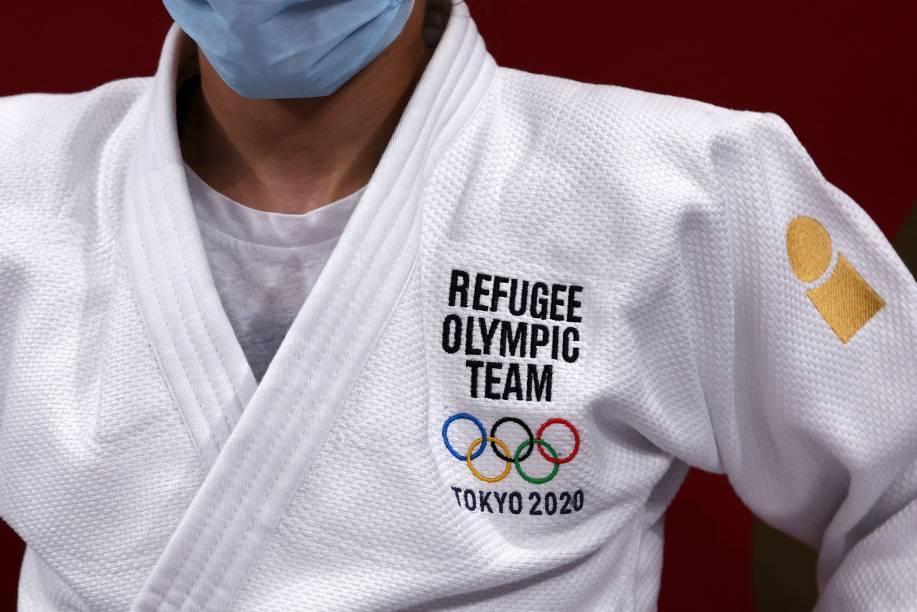 Sanda Aldass, da Equipe Olímpica de Refugiados, antes de duelo no judô -,