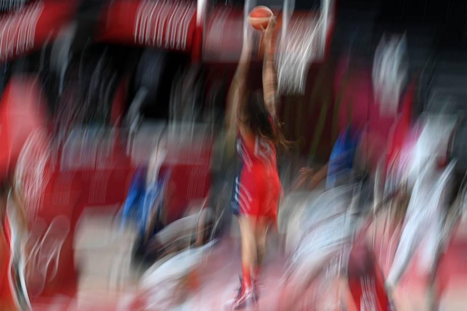 Brittney Griner, dos Estados Unidos, em partida de basquete contra a Nigéria -