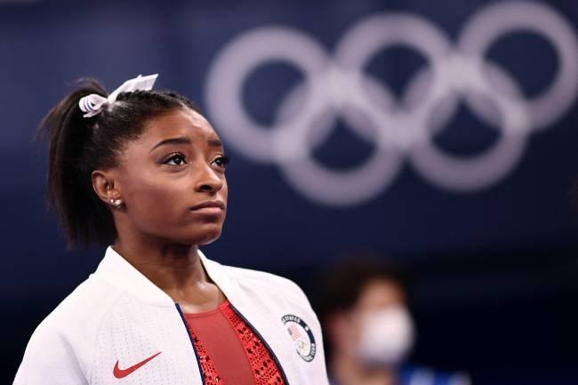 A ginasta Simone Biles, dos Estados Unidos, durante os Jogos Olímpicos de Tóquio - -