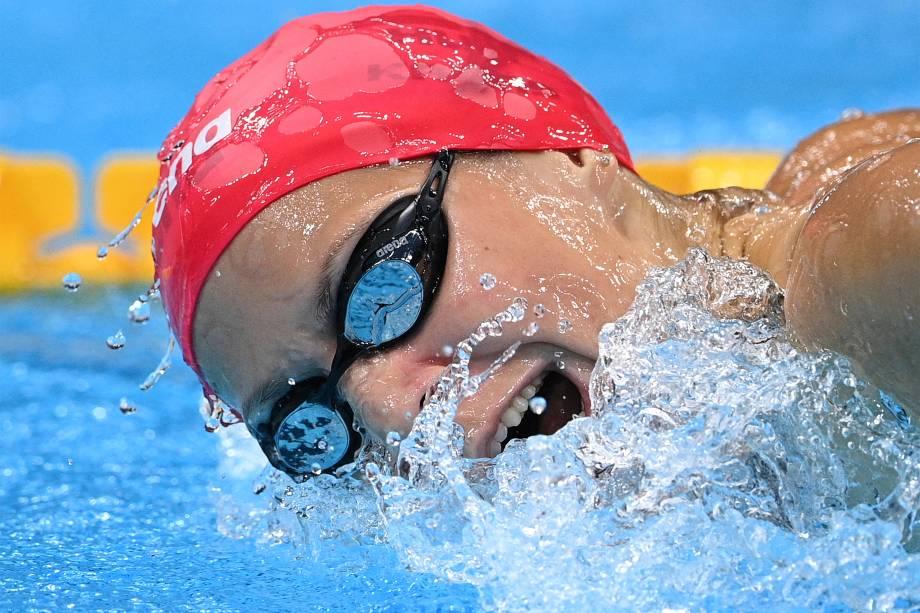 A nadadora Boglarka Kapas, da Hungria, na prova dos 200m borboleta -