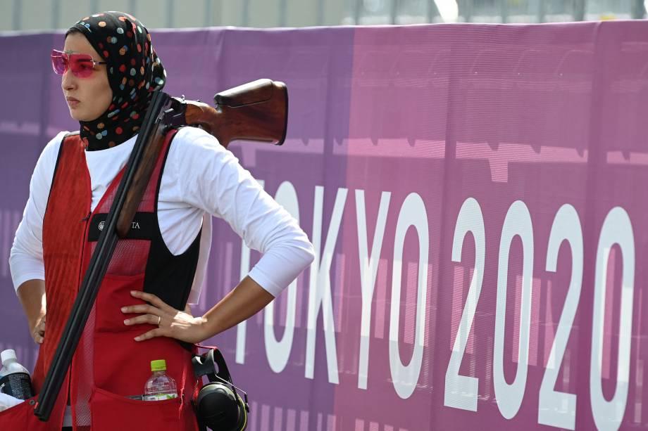 Maggy Ashmawy, do Egito, durante prova de tiro -
